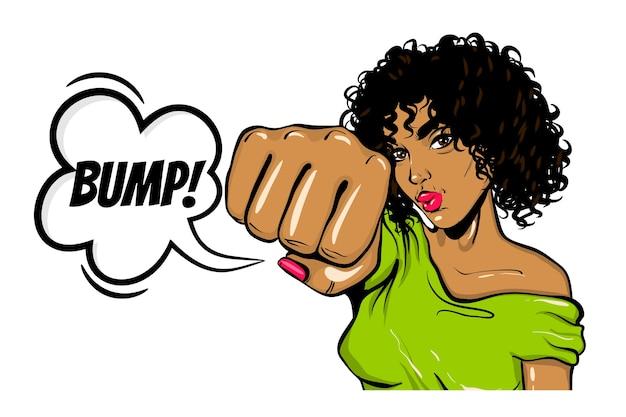 Черная женщина в стиле поп-арт wow face show bump kick Premium векторы