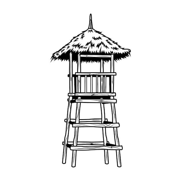 검은 나무 인명 구조 타워 벡터 일러스트 레이 션. 콘서트 또는 음악 축제에 대한 빈티지 홍보 기호. 하와이와 열대 휴가 개념은 복고풍 템플릿, 배너 또는 포스터에 사용할 수 있습니다. 무료 벡터