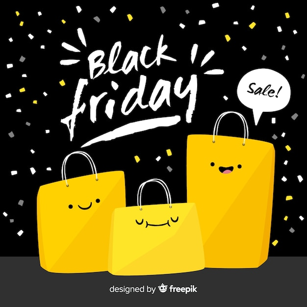 Black and yellow black friday sale background Free Vector