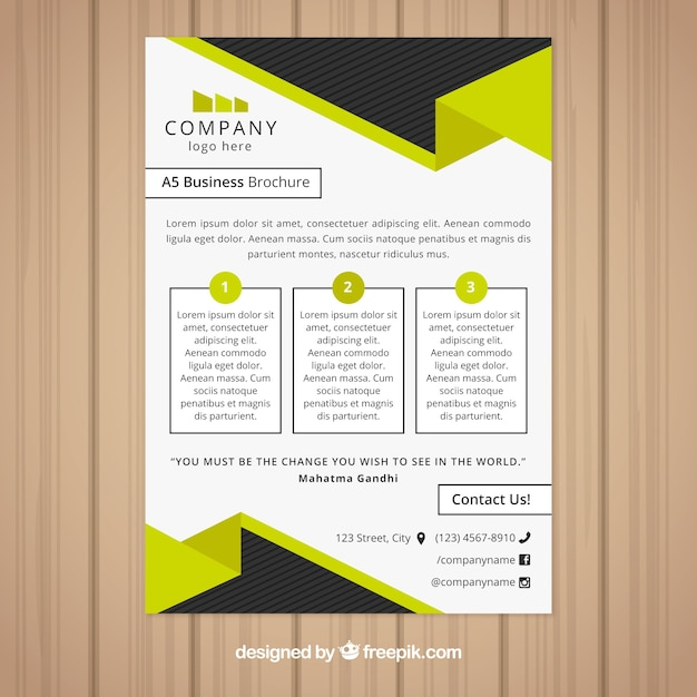 Black and yellow business brochure design Free Vector