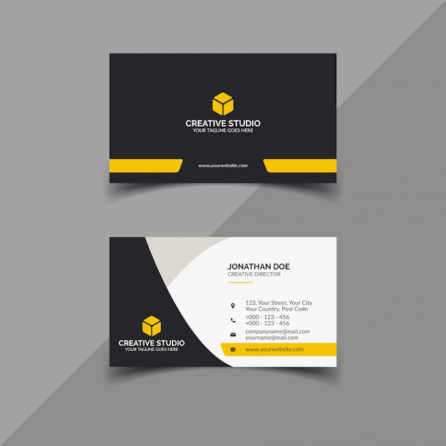 Black and yellow business card design Premium Vector