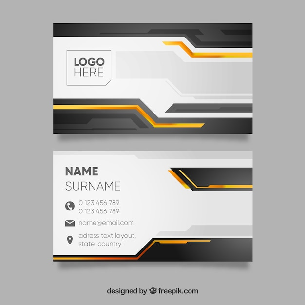 black and yellow business card template vector  free download
