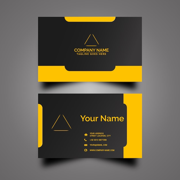 black and yellow business card  free vector