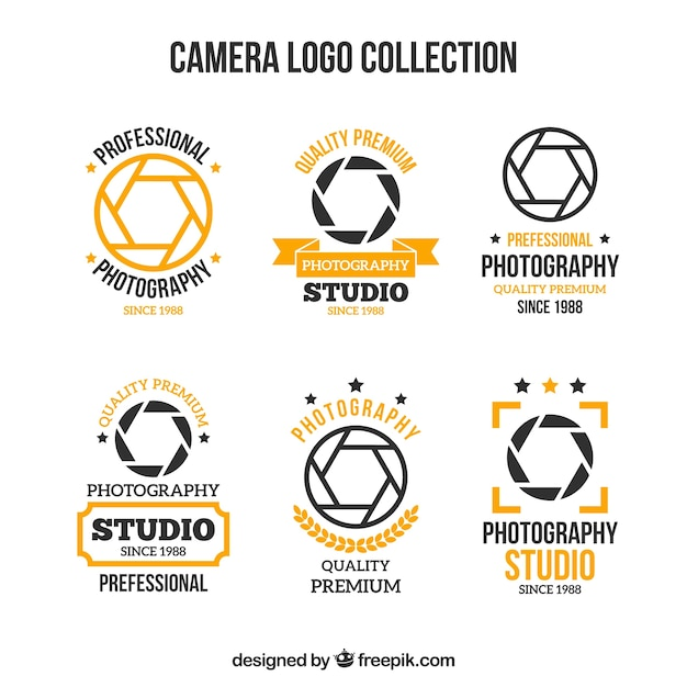 Black and yellow camera logo collection Free Vector