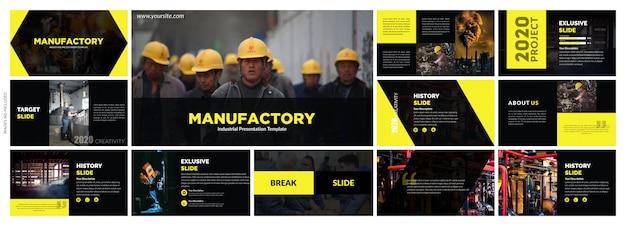 Черно-желтые элементы креативной презентации Premium векторы
