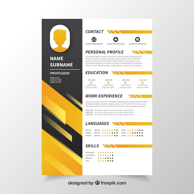 black and yellow cv concept vector
