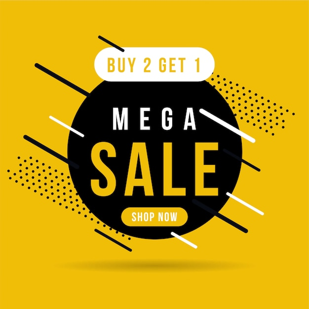 Black and yellow mega sale banner, buy 2 get 1. Premium Vector