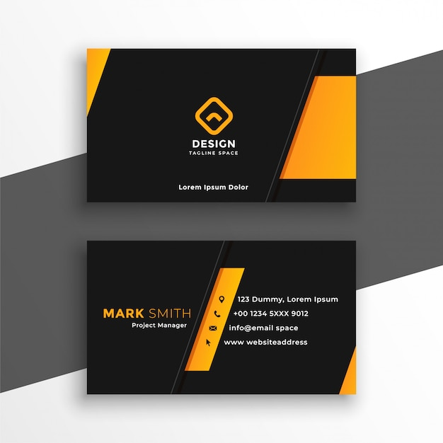 Black and yellow modern business card design template Free Vector