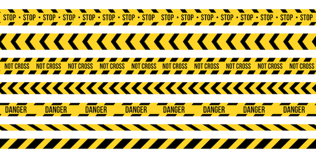 Black and yellow police stripe border. Premium Vector