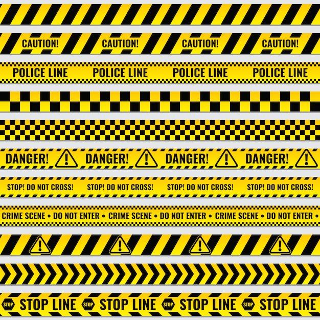 Black and yellow police stripe border Premium Vector