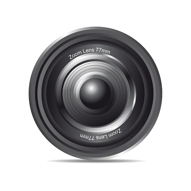 Black zoom lens with shadow over white background vector Premium Vector