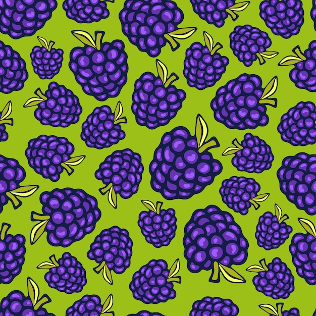 Blackberries seamless pattern Premium Vector