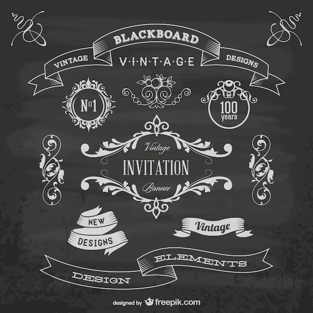 Blackboard anniversary graphic elements Free Vector