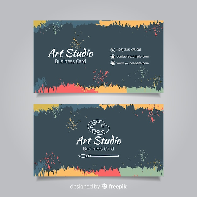 Blackboard art studio card template Free Vector