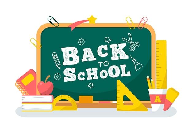 Blackboard back to school background design Free Vector