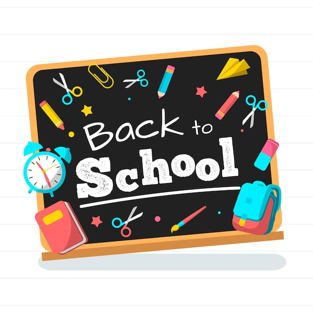 Blackboard back to school background style Free Vector