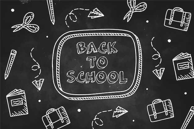 Blackboard back to school background with elements collection Free Vector