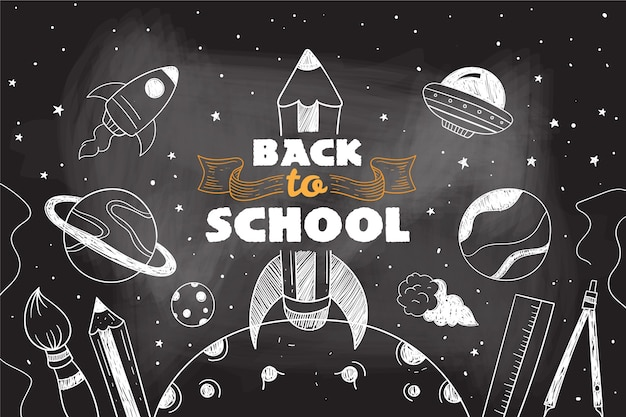 Blackboard back to school background with elements pack Free Vector