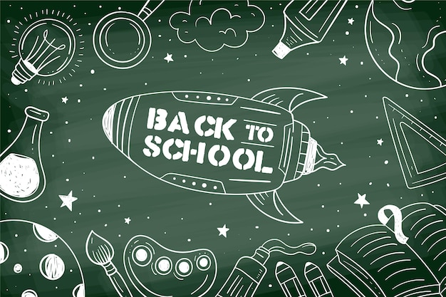 Blackboard back to school background with illustrations Free Vector