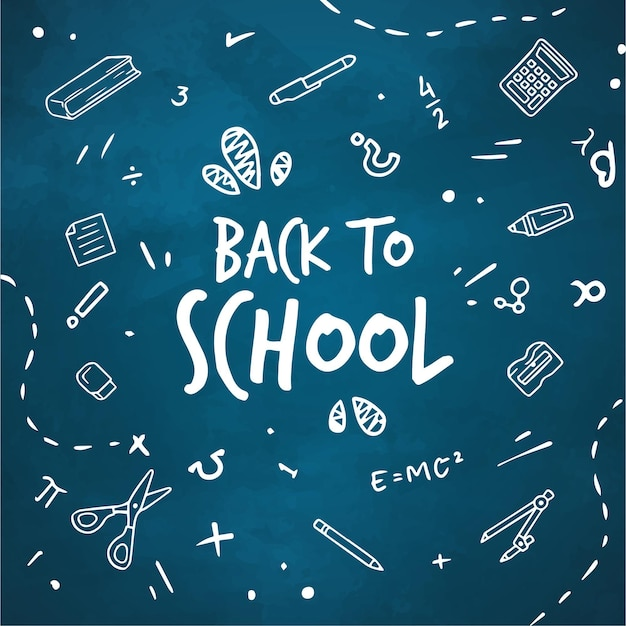 Blackboard back to school background with message Free Vector