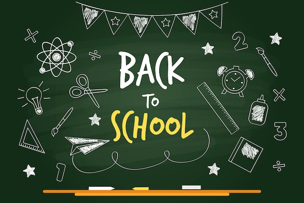 Blackboard back to school background Premium Vector