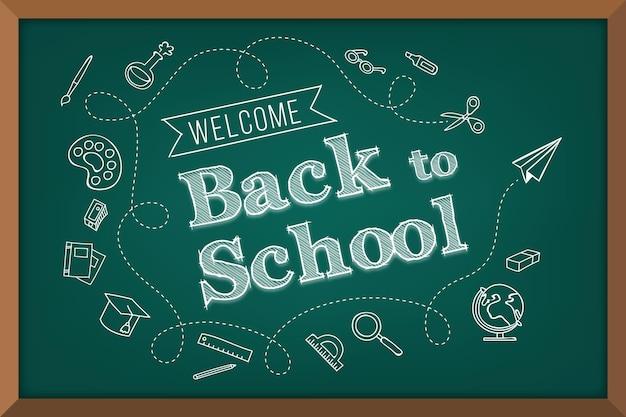 Blackboard back to school background Premium Vector