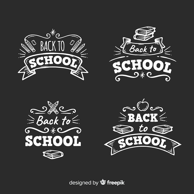 Blackboard back to school badge collection Free Vector