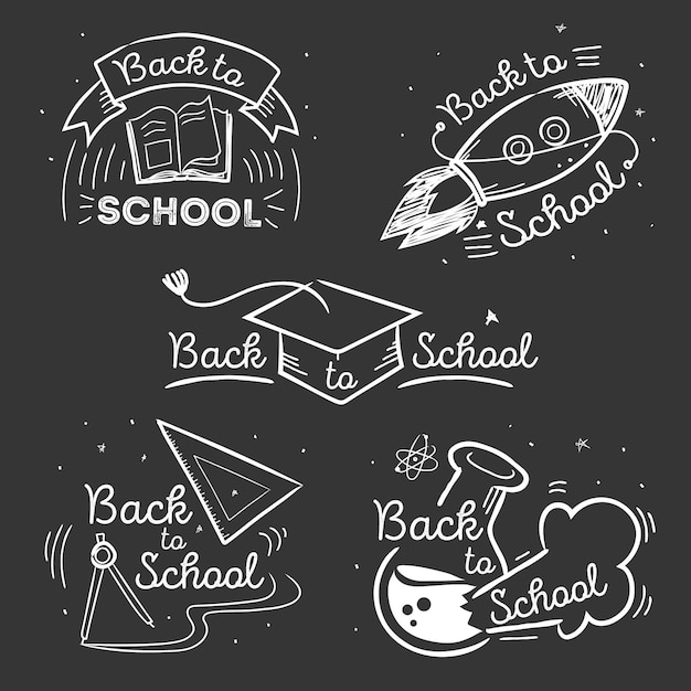 Blackboard back to school badges collection Free Vector