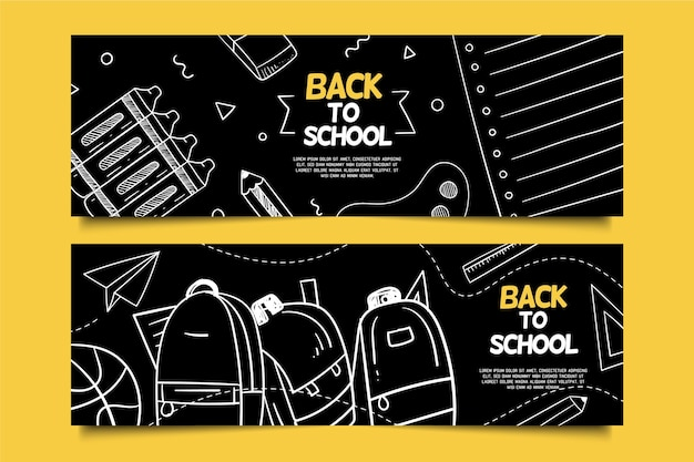 Blackboard back to school banners template Free Vector
