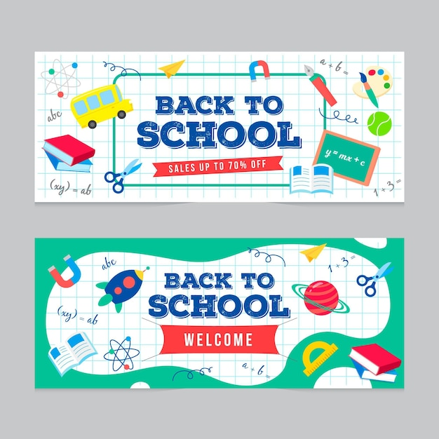 Blackboard back to school banners Free Vector