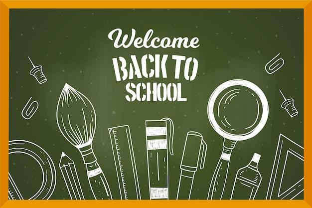 Blackboard back to school elements background Free Vector