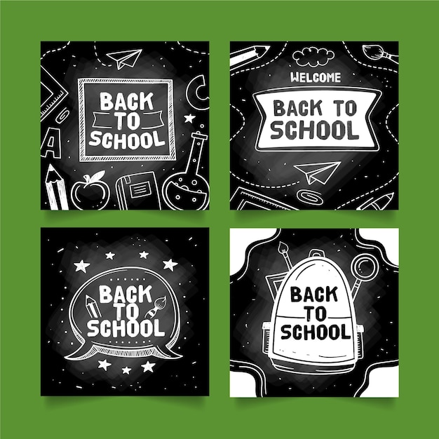 Blackboard back to school instagram post collection Free Vector