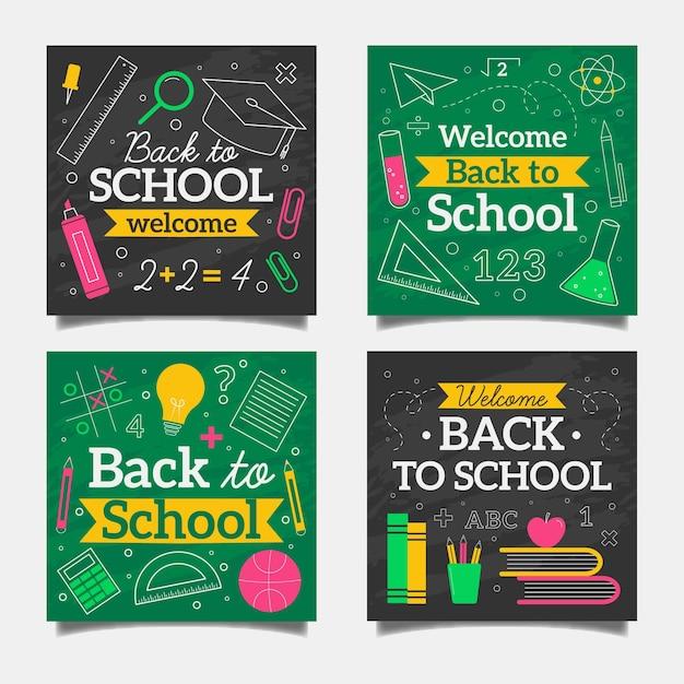 Blackboard back to school instagram posts collection Free Vector
