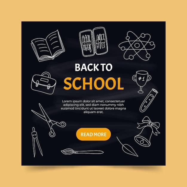 Blackboard back to school instagram posts Free Vector