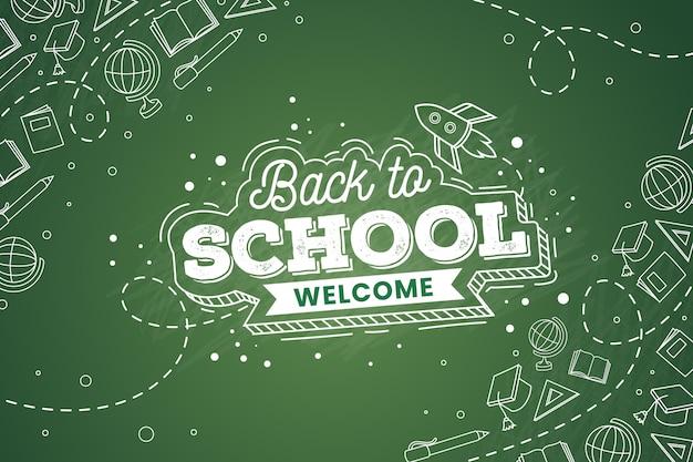 Blackboard back to school wallpaper design Premium Vector