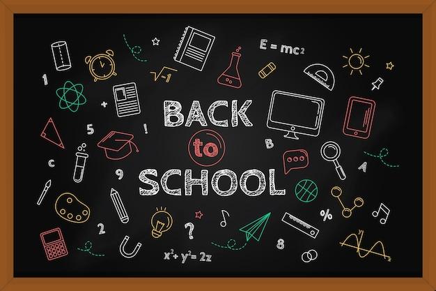 Blackboard back to school wallpaper with chalk Free Vector