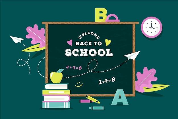 Blackboard back to school wallpaper Premium Vector