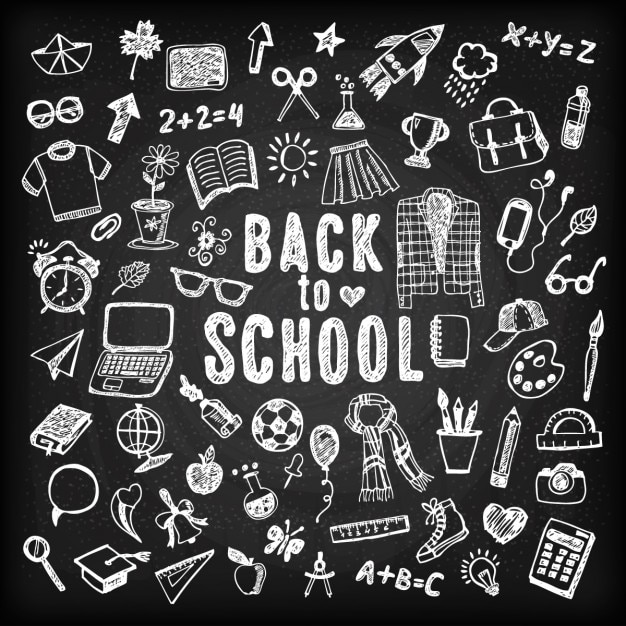 Blackboard background of back to school with sketches Free Vector