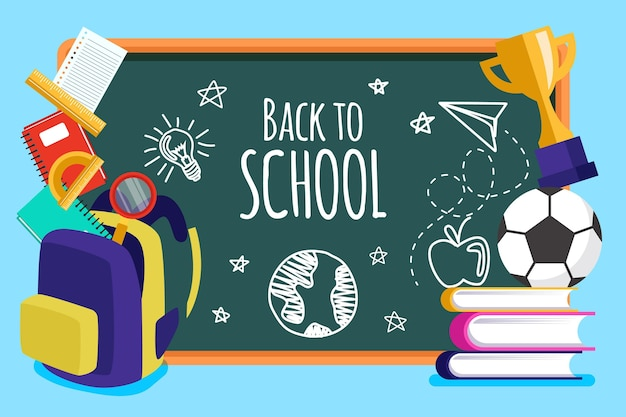 Blackboard background back to school Free Vector
