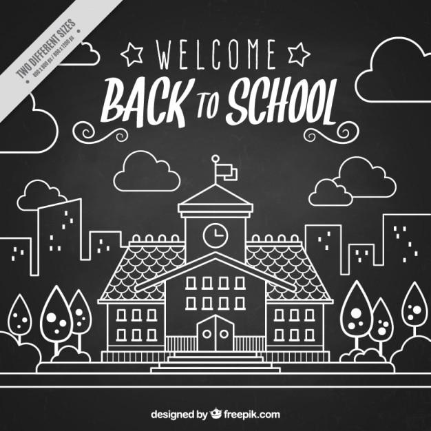 Blackboard background of hand drawn back to school