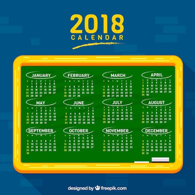 Blackboard background with 2018 calendar