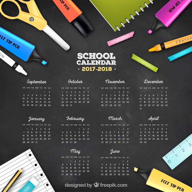 Blackboard background with calendar and school supplies