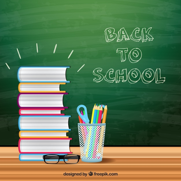 Blackboard background with free and school supplies