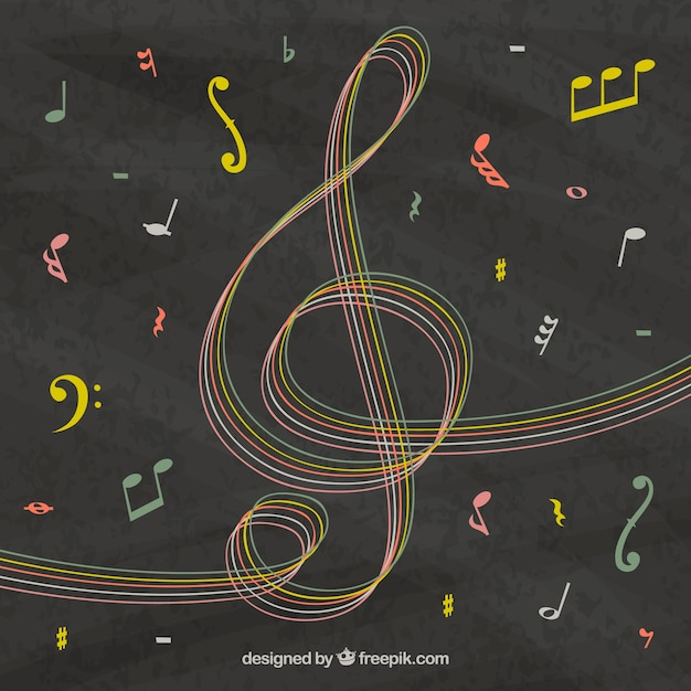 Blackboard background with hand drawn treble clef and musical notes