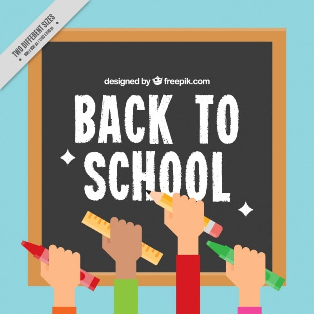 Blackboard background with hands raised