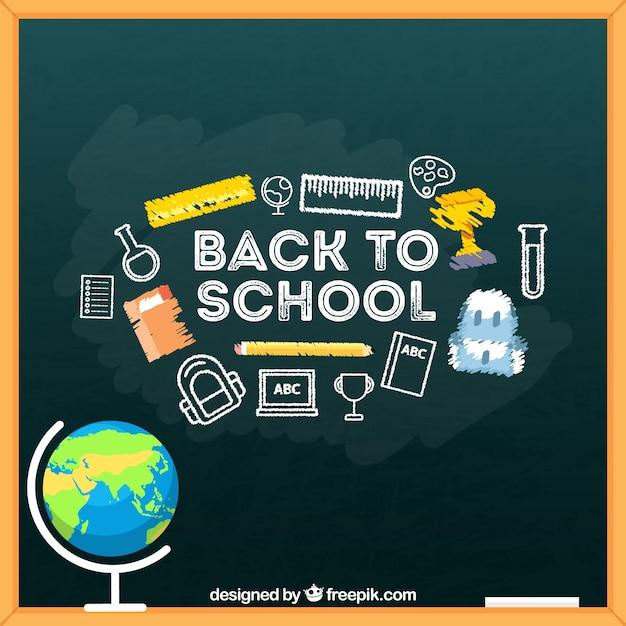 Blackboard background with school elements
