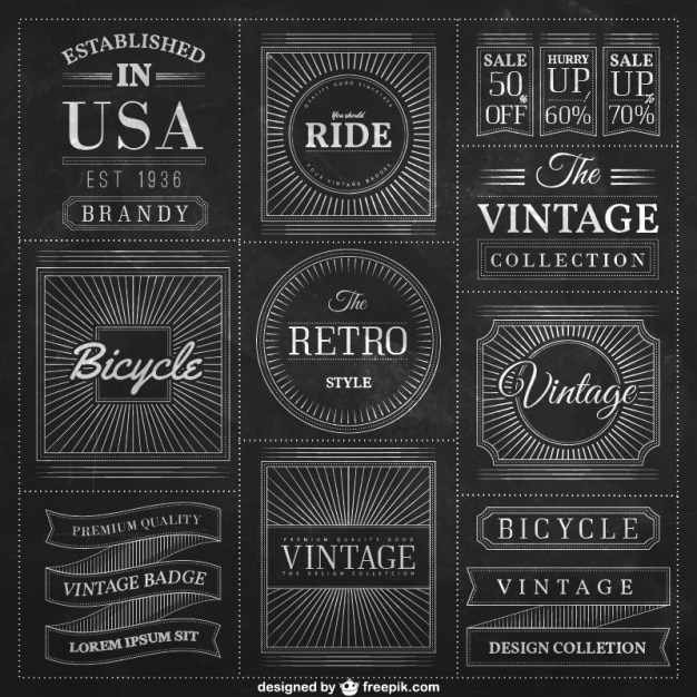 Blackboard badges in vintage style Free Vector