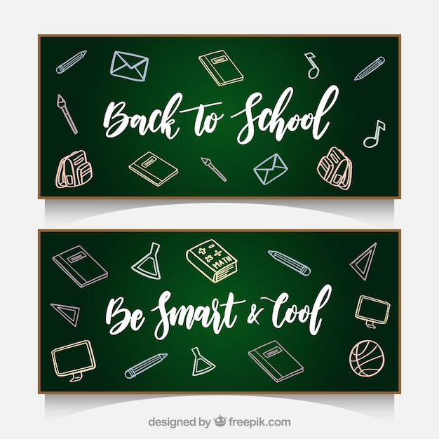 Blackboard banners with sketches back to school