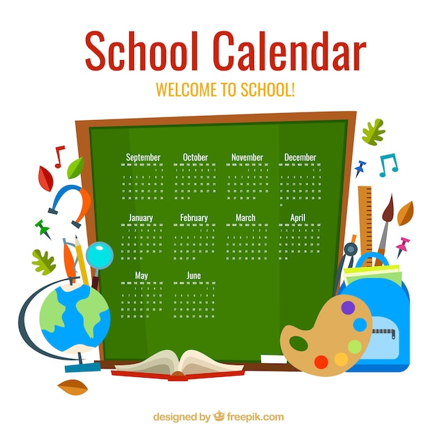 Blackboard calendar with school elements