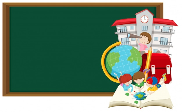 Blackboard and children learning at school Free Vector